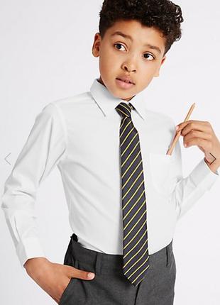 Школьная белая рубашка длинный рукав marks&spencer р.8-9 лет рост 135см