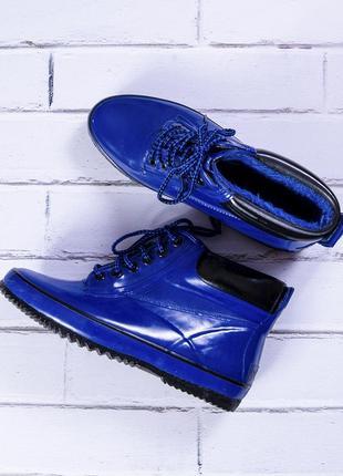 Резиновые сапоги зимние, синие сапоги зимние со шнуровкой