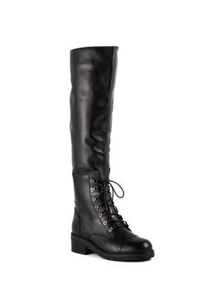 1054ц женские ботфорты sasha fabiani,кожаные,на низком ходу,на шнурке,на толстом каблуке