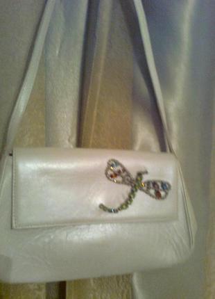 Красивая кожаная сумка с бабочкой из цветных камней, испания