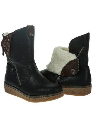 1050ц женские ботинки rieker,кожаные,на толстой подошве,на платформе,на низком ходу