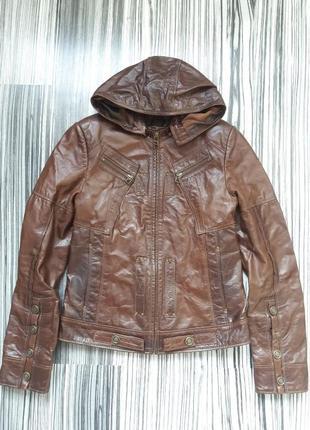 Кожаная курточка куртка с капюшоном