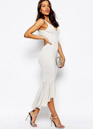 Классическое базовое платье asos миди c полуоткрытой спиной и оборкой по подолу
