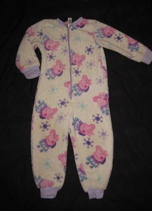 2-3 года, махровая пижама слип с пеппой, поддёва, домашний костюм