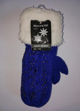 Яркие теплые рукавички на меху,р-р универсальный,польша