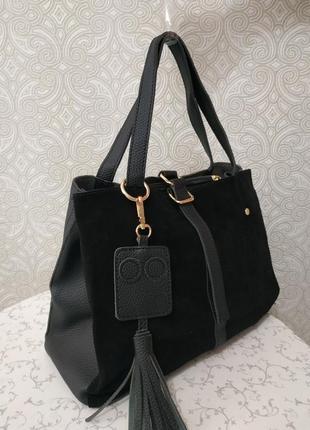 Замшевая сумка 2018 2019 черная сумка с натуральным замшем длинным ремешком  через плечо 31481ba1c99