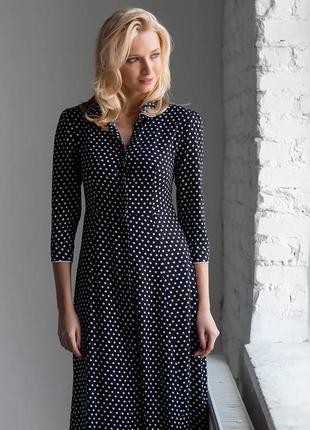 Платье в мелкий горох  черное размер s m l
