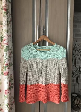 Кофта вязана свитер гольф в рубчик бежевая розовая