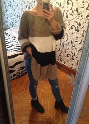 Свитер объёмный, свитер ангора, мохер италия