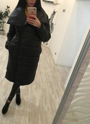 Пальто одеяло на овчине оверсайз теплое зимнее в стиле zara