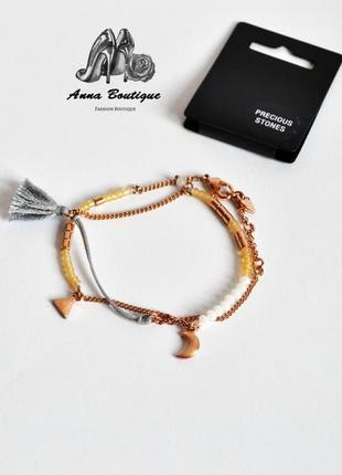 Элегантный и свободный позолоченный браслет с драгоценными камнями pilgrim