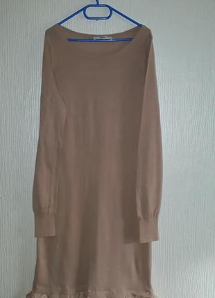 Шикарное нюдовое платье размер  s длинна миди