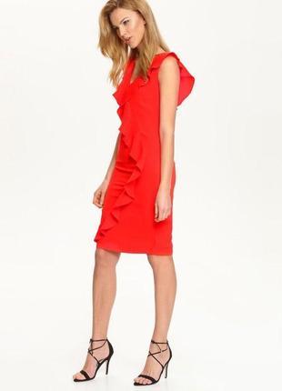 Шикарное красное миди платье футляр с воланом и шлицей