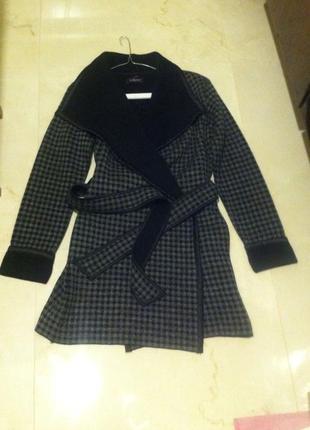 Теплый шерстяной серый кардиган-халат пальто на поясе xs-s-m.