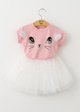 12-37 детский костюм, футболка кошечка, пышная фатиновая юбка 110 116 122