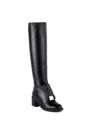 975ц женские сапоги sasha fabiani,кожаные,на толстом каблуке,на каблуке,на низком ходу