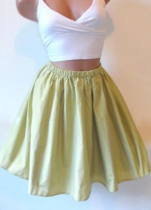 Пышная юбка на резинке высокая салатовая нарядная завышенная талия