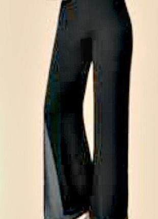 Двухслойные шифоновые брюки с атласным поясом, не мнутся