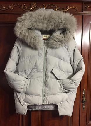 Курточка стёганная, короткая, 100% мехом лисы