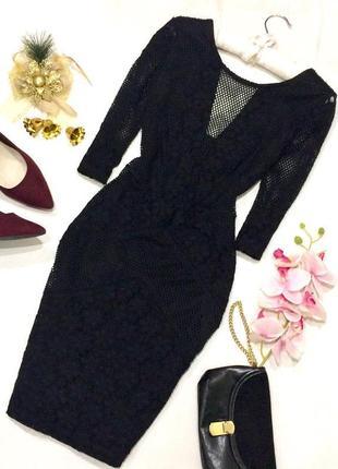 Черное платье, кружево, сетка xs-s topshop