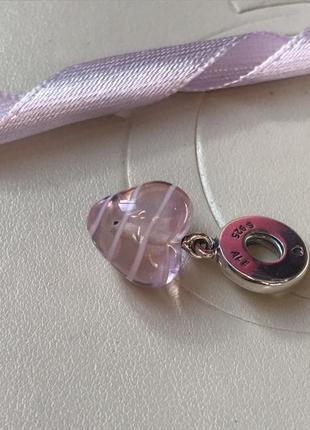 Подвеска стеклянное сердце розовое , оригинал пандора , pandora