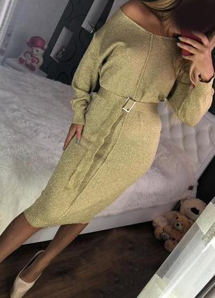 Тренд. платье с люрексом, пояс в комплекте, миди черные золото серебро облегающие блеск