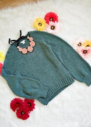 Трендовий светер h&m з широким рукавом та блискучою ниткою