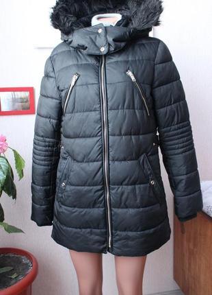 Черная зимняя куртка пуховик zara зара л размер 40
