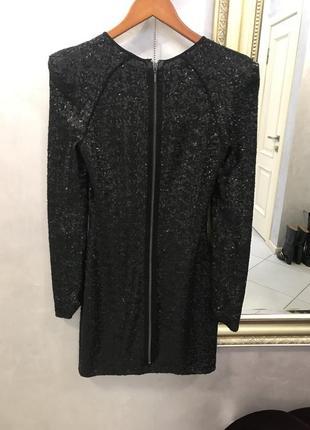 Идеальное новогоднее платье с черными матовыми пайетками plein sud, после химчистки, р. s