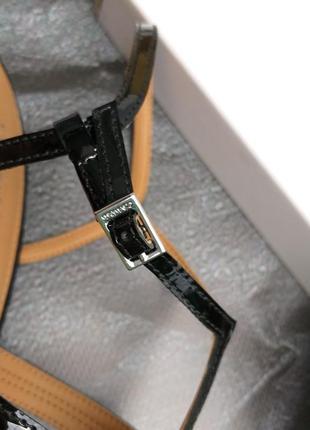 Calvin klein оригинал босоножки вечерние на шпильке черные кожаные бренд из сша5