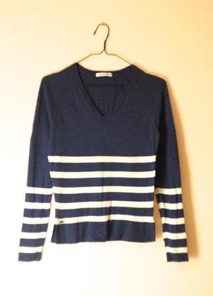 Vip бренд lacoste оригинал 100% шерсть мериноса тонкий полосатый пуловер как новый