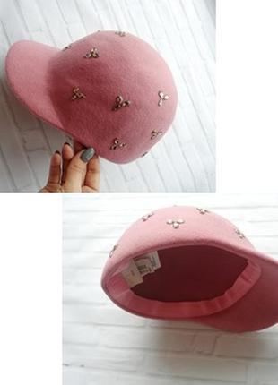 Жокейка, шляпа с козырьком фетровая из натуральной шерсти