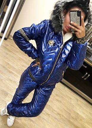 Новый очень теплый зимний костюм с мехом синий