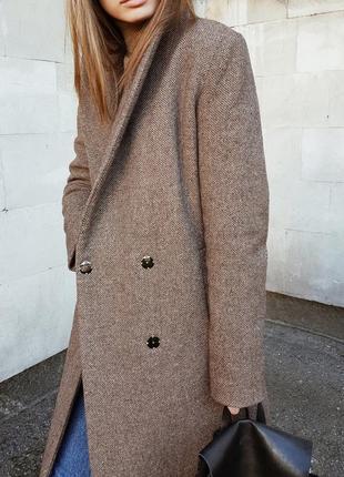Шерстяное очень теплое зимнее твидовое пальто кардиган на утеплителе размер с-м-л