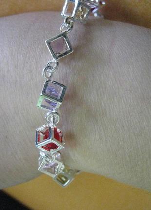 Посріблений браслет ромби з кольоровими церконами
