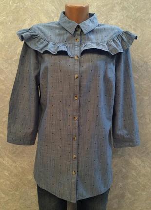 Блузка-рубашка котоновая  джинсовая  в мелкий горох с рюшей размер 12-14 tu