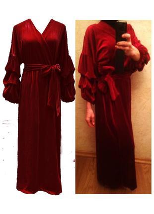 Роскошный велюровый домашний халат-платье, 4 цвета, ретро стиль,2 размера