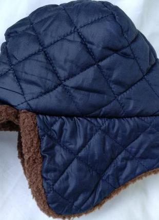 Шапка ушанка mamas&papas стеганая на меху теплая зимняя мальч.3-4г, р.98-104