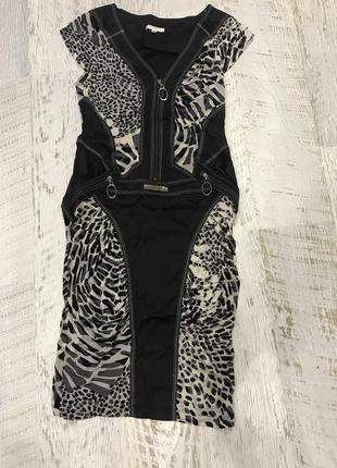 Платье женское нарядное вечернее облегающие в тигровый принт камни swarovski 46