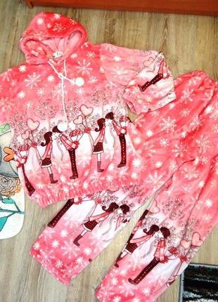 Плюшевая, теплющая пижама на 10-15 лет