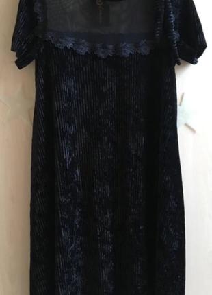 Платье бархатное новогоднее сетка с кружевом вечернее нарядное свободное