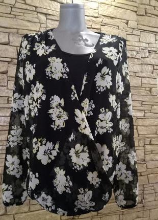 Floral print блуза 44-46р2 фото
