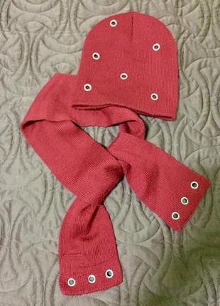 Стильный набор шапка и шарф шерстяной с металлическими заклепками