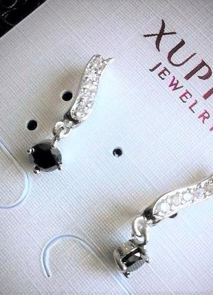 Брендовая ювелирная бижутерия xuping jewelry на каждый день! серьги с чёрным фианитом