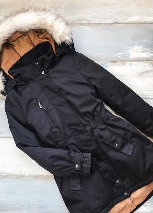 Чёрная тёплая зимняя куртка парка пуховик с капюшоном vero moda