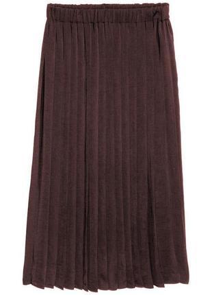 Коричневая плиссированная юбка из полиэстра, м- l- xl-2xl