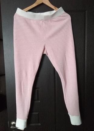 Триктажные розовые в полоску штаны с люрексом пижама