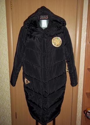 Зимняя курточка пуховик бойфренд оверсайз с нашивками  патчами