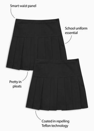 Новая черная школьная юбка next, пояс регулируется, покрытие teflon ecolite, р. 14 лет