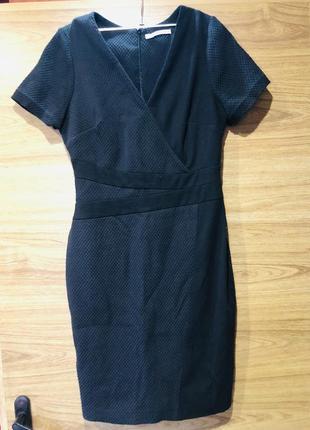 Платье тёплое офисное классическое черное